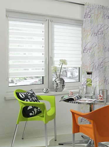 GARDINIA Doppelrollo zum Klemmen oder Kleben, Duo-Rollo/ Seitenzugrollo, Transparente und blickdichte Streifen, Alle Montage-Teile inklusive, Weiß, 120 x 150 cm (BxH) - 12