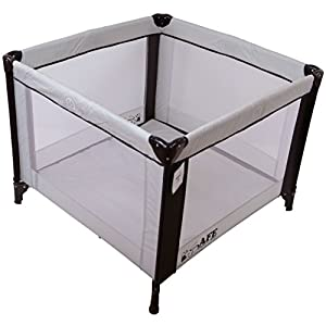 iSafe Zapp And Nap 101cm x 101cm Luxury Square Travel Cot Playpen Black/Grey (Black/Grey)   12