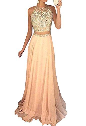 Zweiteilige Ballkleider Halfter Partykleid Lange Abendkleid Perlen Abschluss Kleid