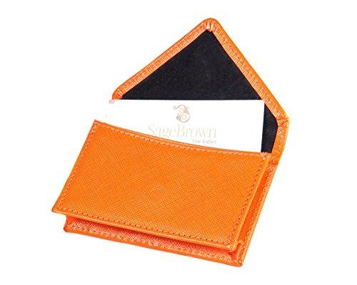 Holder Business Orange Card (SAGEBROWN Orange Business Card Envelope)
