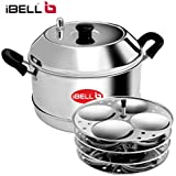 iBELL Stainless Steel Idly Cooker With 4 Idly Plates (16 Idlyes)