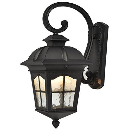 OOFAY Im Freienweinlese-Balkon-Wand-Lampen-Patio Imprägniern Antike Landhaus-Gang-Wand-Licht,Black - Messing Schwarz Schatten Leuchter