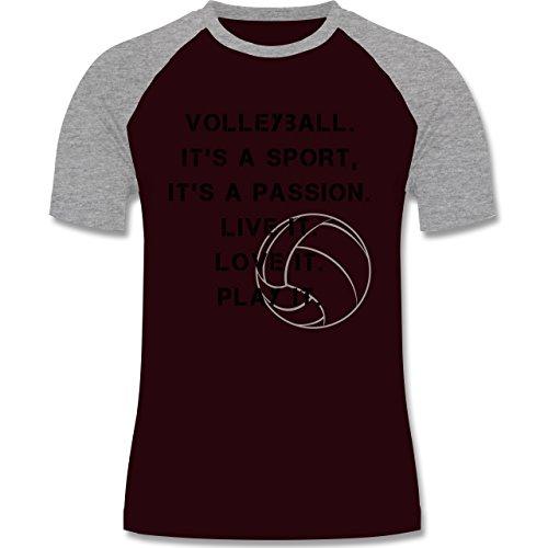 Volleyball - Volleyball Statement - zweifarbiges Baseballshirt für Männer Burgundrot/Grau meliert
