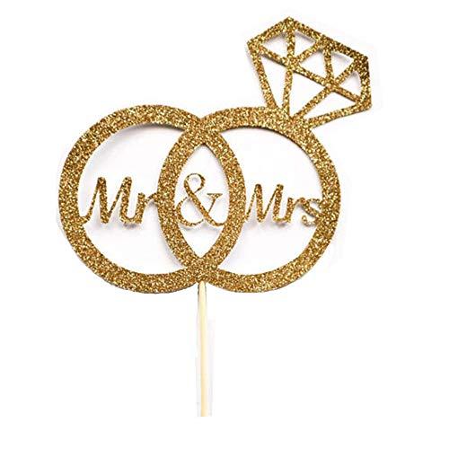 Ogquaton Kuchen Topper 'MR MRS' Glitter Party Topper Cupcake Toppers Mini Kuchen Dekorationen für Bridal Shower Verlobungsfeier Bachelorette (Gold)