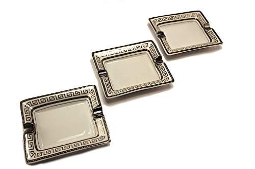 Bavary 3X Medusa Aschenbecher im Eleganten und Hohen Design Neuheit Luxus (Silber)