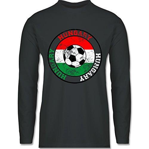 EM 2016 - Frankreich - Hungary Kreis & Fußball Vintage - Longsleeve / langärmeliges T-Shirt für Herren Anthrazit