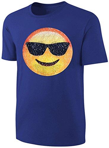 Kinder T-Shirt Wende Pailletten Smiley Sonnenbrille Streichel Shirt Blau Größe 92