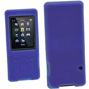 igadgitz Blau Silikon Skin Tasche Hülle Etui Case Cover for Sony Walkman NWZ-E473 NWZ-E474 NWZ-E574 NWZ-E575 E Serien Video MP3 Player 4gb 8gb 16gb + Displayschutzfolie