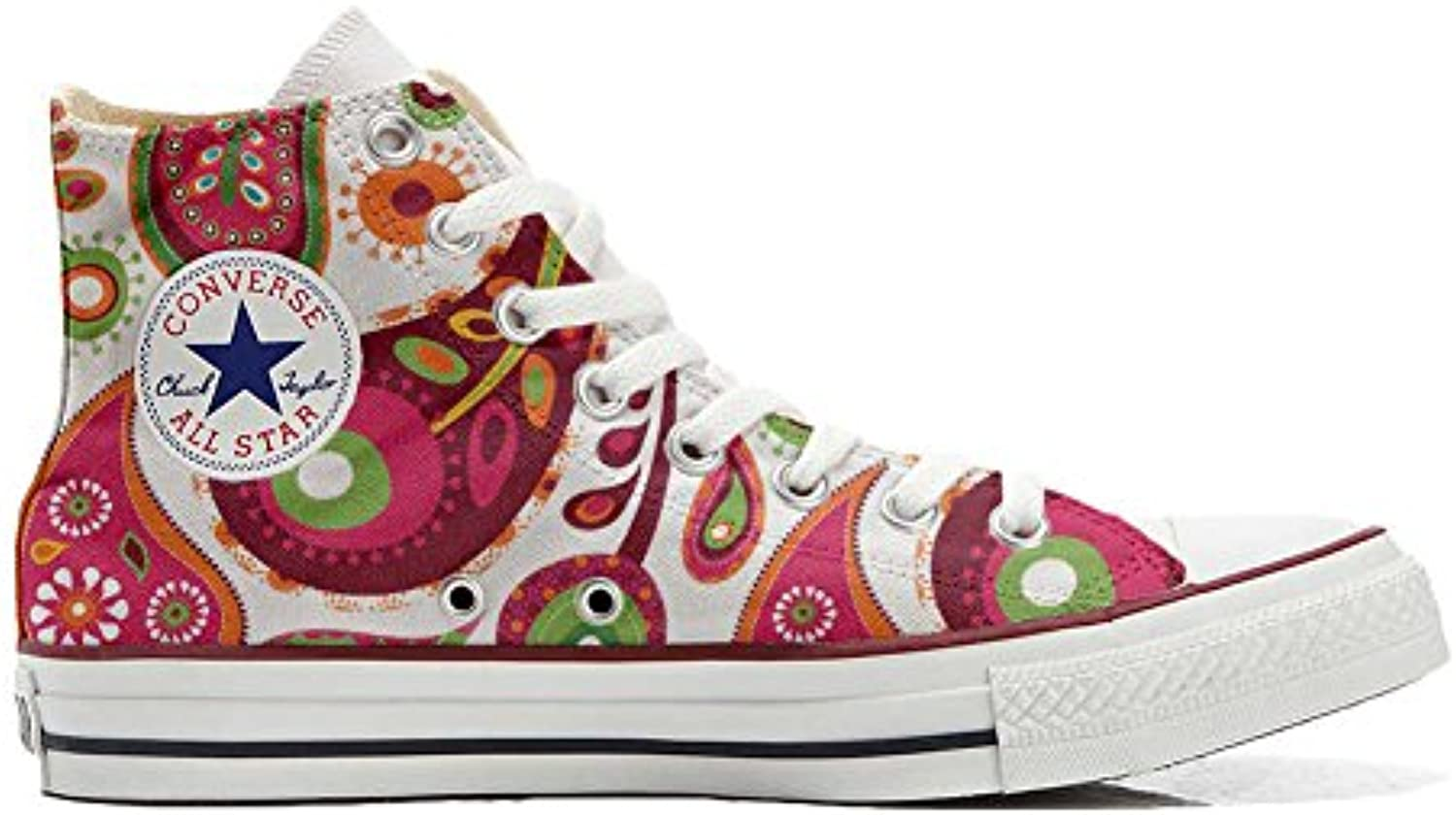 Converse All Star Hi Customized personalisierte Schuhe (Handwerk Schuhe) White Green Paisley 2