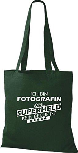 Shirtstown Stoffbeutel Ich bin Fotografin, weil Superheld kein Beruf ist Grün