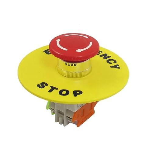 sourcingmap® 4 bornes à vis de verrouillage auto rouge Contact Interrupteur à bouton-poussoir d'arrêt d'urgence