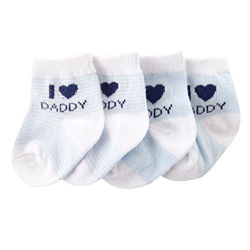 NEU   Jungen 2er-Pack Strümpfe Socken weiß blau I Love Daddy   0 bis 12 Monate 6-12 Monate