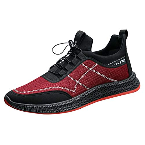 AIni Herren Schuhe,2019 Neuer Heißer Beiläufiges Mode Sale Schnüren Sie Sich Oben den Sport, der Zufällige Turnschuhe Feste Schuhe Laufen lässt Partyschuhe Freizeitschuhe(40,Rot)