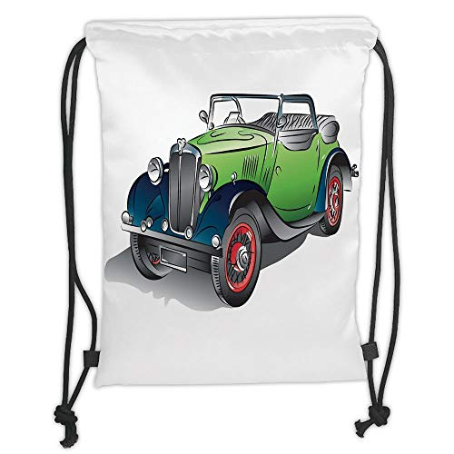 Trsdshorts Drawstring Backpacks Bags,Cars,Hand Drawn Convertible Vintage Green Car with Colorful Rims Retro Vehicle Design Print Decorative,Green Gray Soft Satin,5 Liter Capacity,Adjustable S