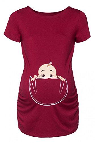 Happy Mama Donna Maglietta Premaman T-shirt Maglia Bambino in Tasca Stampa. 501p (Cremisi, IT 40/42, S)