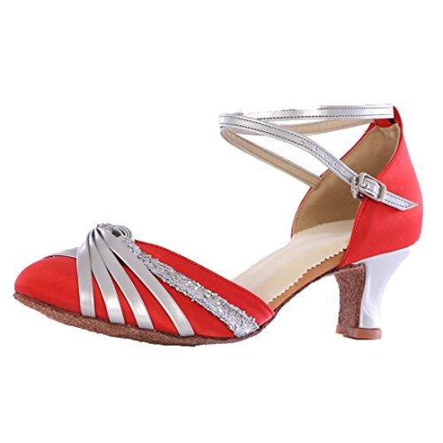 Vashcamer - Chaussures De Bal Pour Femmes Standard / Latin / Ballroom / Modern Red