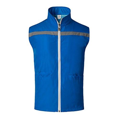Gogo Supermarkt Freiwilligen Uniform Weste, Reißverschluss vorne Sicherheit Weste mit Reflexstreifen, blau