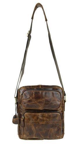 Étui rétro vintage en cuir de buffle bubalus wasserBüffel sac messenger unisexe à bandoulière pour ipad mini/tablette jusqu'à 10 \\