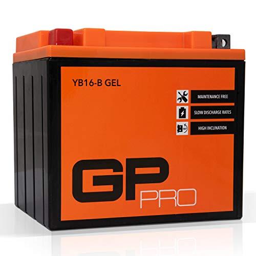 GP-PRO GB16-B 12V 17Ah GEL Batteria di avviamento (simile a YB16-B / 51912) (Esente da manutenzione / Sigillato) Moto Accumulatore per es. Harley Davidso
