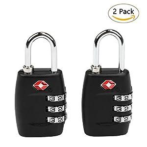 TSA Cadenas, Ballery 2 TSA serrures de sécurité à combinaison pour valise bagages sacs (noir)