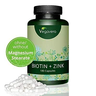 BIOTIN + ZINC | Biotin (also called Vitamin H or Vitamin B7) 10,000µg plus Zinc 15mg | High dosage, for healthy hair, nails and skin, made in Germany, VEGAN 180 capsules by Vegavero by Vanatari International GmbH