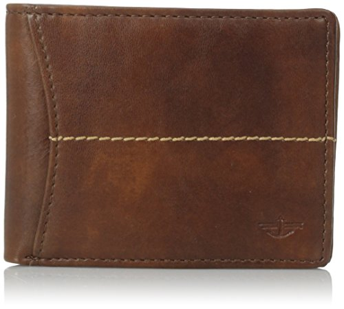 Dockers Men's Soft Hand Center Stitch Extra Capacity Slimfold Wallet, Cognac, One Size