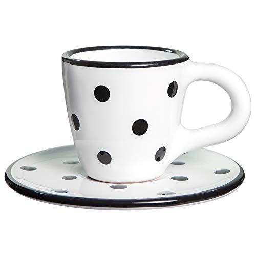 City to Cottage | Tasse et sous tasse à café | blanche à pois noirs en céramique faite et peinte à la main | 60ml