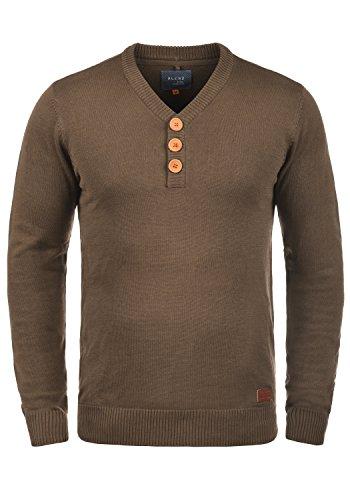 Blend Legolas Herren Strickpullover Feinstrick Pullover Mit V-Ausschnitt Und Knopfleiste, Größe:XL, Farbe:Mocca Mix (70816) -