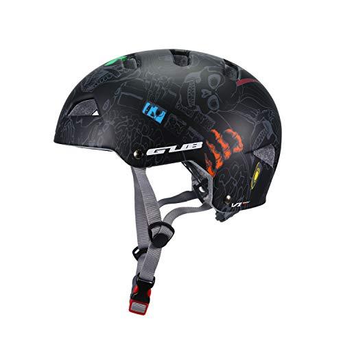Asvert Casco de Graffiti Bicicleta Hombre Carretera MTB Visera PC+EPS Doble Protecciones Casco Ciclismo Integral Duradero y Ajustable Bici Montaña, Talla M/L(Rojo) (nagro, M)