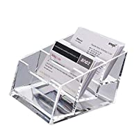 LANSCOERY Clear Acrylic Business Card Case Holder Container Countertop Stand Organizer for Office Table Desktop Storage (3Tier 1 Pack)