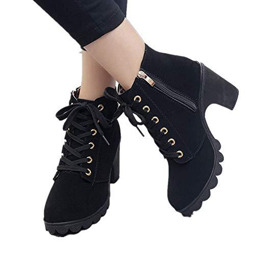JOYTO Femme Bottines a Talon Plateforme Velours Lacet Cuir Basse 8 CM Hiver Automne Fashion Elegante Confortable Boots avec De La Fourrure Noir 35