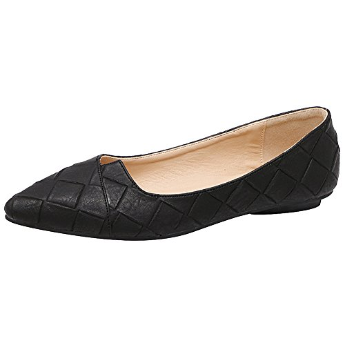Jamron Damen High End Customizd Westlicher Stil Plaid PU Leder Spitze Ballerinas Nobel Elegant Flach Kleid Pumps Schwarz SN02711 EU38.5