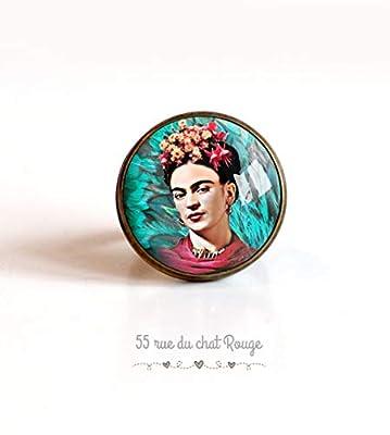 Bague cabochon 20 mm Cabochon Frida Khalo, bohême chic, boho, Mexique