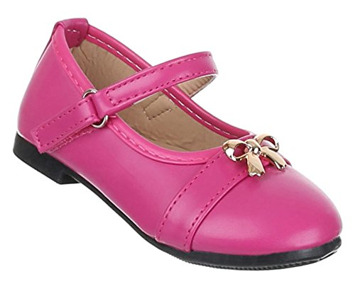 Kinder-Schuhe Ballerinas   elegante Slipper mit Riemchen und Schleife in verschiedenen Farben und Größen   Schuhcity24   Ballerinas in Lederoptik mit Klettverschluss Pink