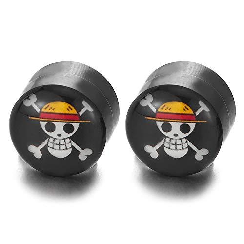 Herren Damen Magnetische Schwarz Kreis Bunte Piraten Schädel Ohrstecker Ohrringe, Click-on Fake Plugs Piercing