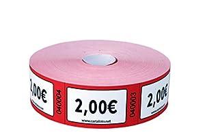 CARTALOTO - Rollo de 1000 Etiquetas Valor 2€ - Rojo, BITR2006, Multicolor