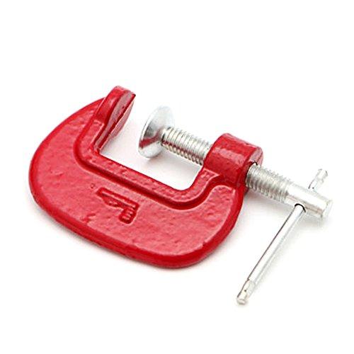 Abrazadera en forma de C de metal para carpintero de carpintero Handyman, herramienta de carpintería, rojo