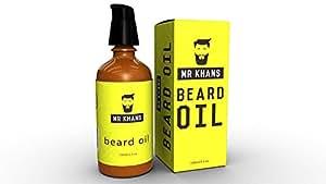 Mr Khans - Homme huile de barbe soin adoucissant après-shampoing 100 ml bouchon à pompe avec verouillage bouteille chic en verre