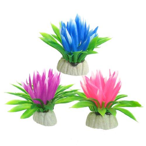 Sourcingmap Plástico Lotus Flower Planta Acuario Tanque Decor, 3piezas