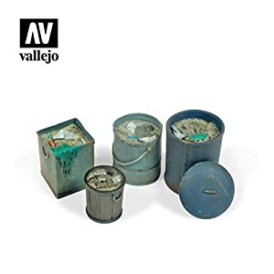 Vallejo SC213 1/35 - Cubo de Basura (4 Unidades, Diferentes Modelos)