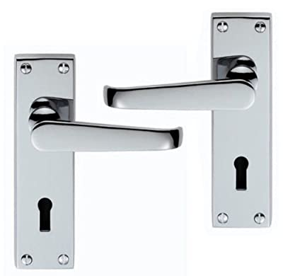 Victorian Straight Door Handle Lever Lock Polished Chrome - Premium Quality produced by Frelan - quick delivery from UK.