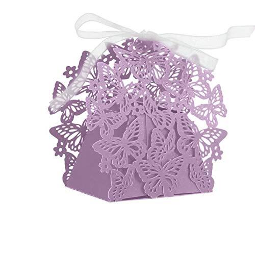 BRZM Schöne Dekoration 50 Stücke Romantische Hochzeit Decor Schmetterling DIY Süßigkeiten Cookie Geschenkboxen Hochzeit Box (Lila)