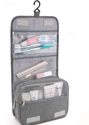 Große nachhaltige wasserfeste Backpacker Camping Kosmetik Kulturtasche/Waschtasche/Waschbeutel für Mann Frau Kind Maße: 22 x 9 x 18 cm/Maße: 22 x 9 x 39 cm (Grau) -