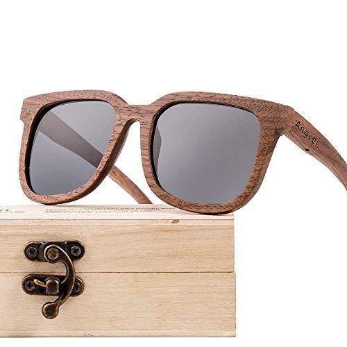 Mode Retro Unisex Multi-Color-Objektiv UV400 Schutz Black Walnut Wooden Glasses Polarized Coated Sonnenbrillen Brille (Farbe : Gray)
