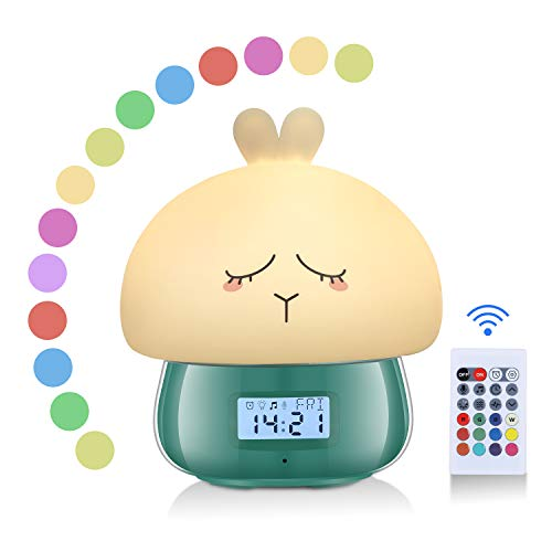 AURSEN Despertador Luz de Disbujo Animado, 7 Colores, 11 Naturales Sonidos,Función de Grabación,Remoto Control Digital Despertador [Clase de eficiencia energética A+++]