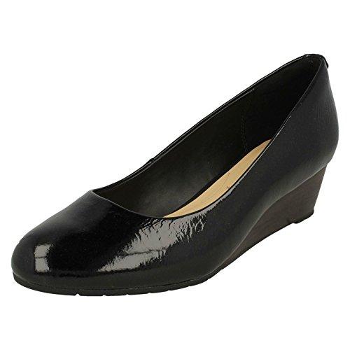 Clarks Vendra Bloom Damen Sandalen mit Keilabsatz, Schwarz - Black Patent Leather - Größe: 43