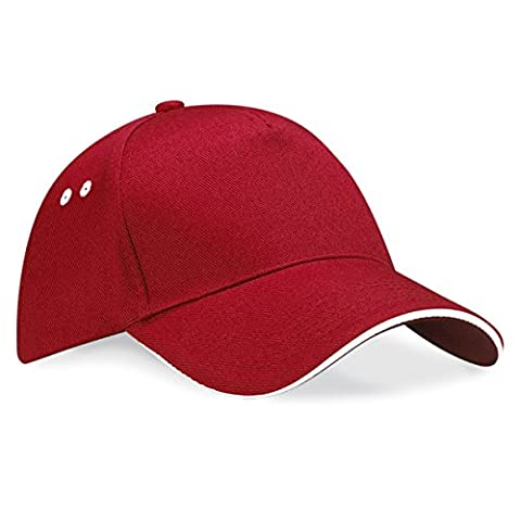 Beechfield Unisex Ultimate 5 Panel Contrast Baseball Cap With Sandwich Peak / Headwear (One Size) (Classic Red/White)