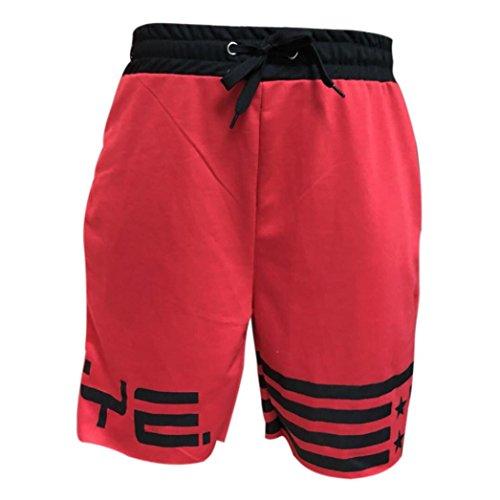 ASHOP Herren Kurze Hose Bodybuilding Freizeithose Sportshorts Sweatpant Mit Kordel (L, rot)