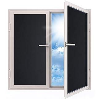 havalime Fensterfolie Blickdicht Sichtschutzfolie selbstklebend Verdunkelungsfolie Fenster Klebefolie statische Folie dunkel für Schlafzimmer Badezimmer Anti-UV Schwarz (200 x 90 cm)
