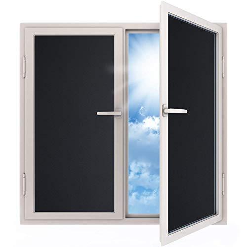 e Blickdicht Sichtschutzfolie selbstklebend Verdunkelungsfolie Fenster Klebefolie statische Folie dunkel für Schlafzimmer Badezimmer Anti-UV Schwarz (200 x 45 cm) ()